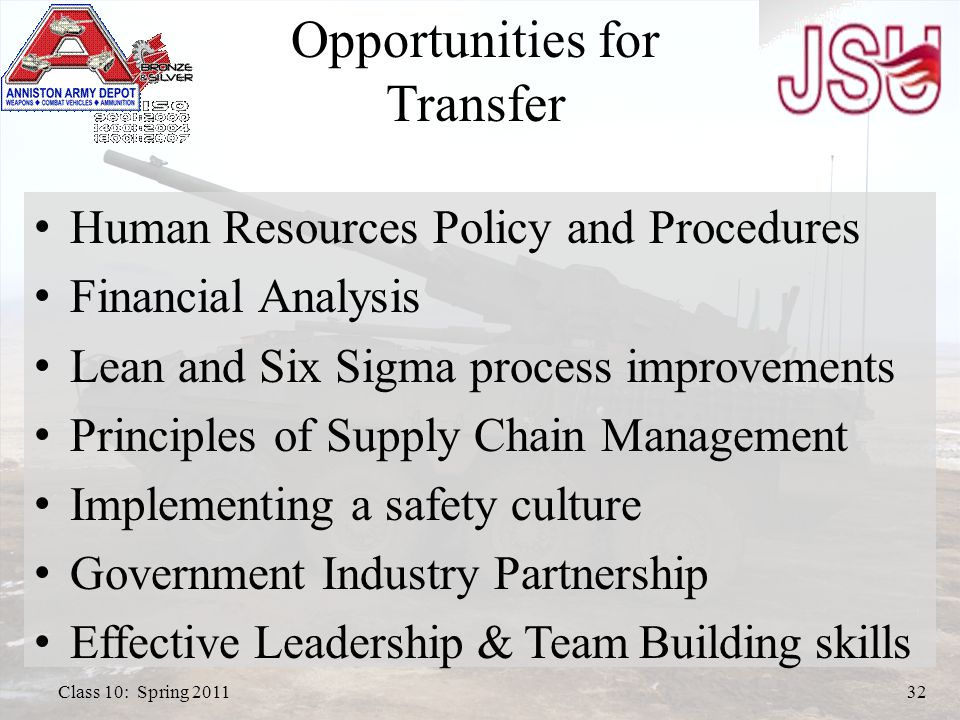 Human Resources Policy and Procedures Financial Analysis Lean and Six Sigma process improvements Principles of Supply Chain Management Implementing a safety culture Government Industry Partnership Effective Leadership & Team Building skills Opportunities for Transfer Class 10: Spring 201132