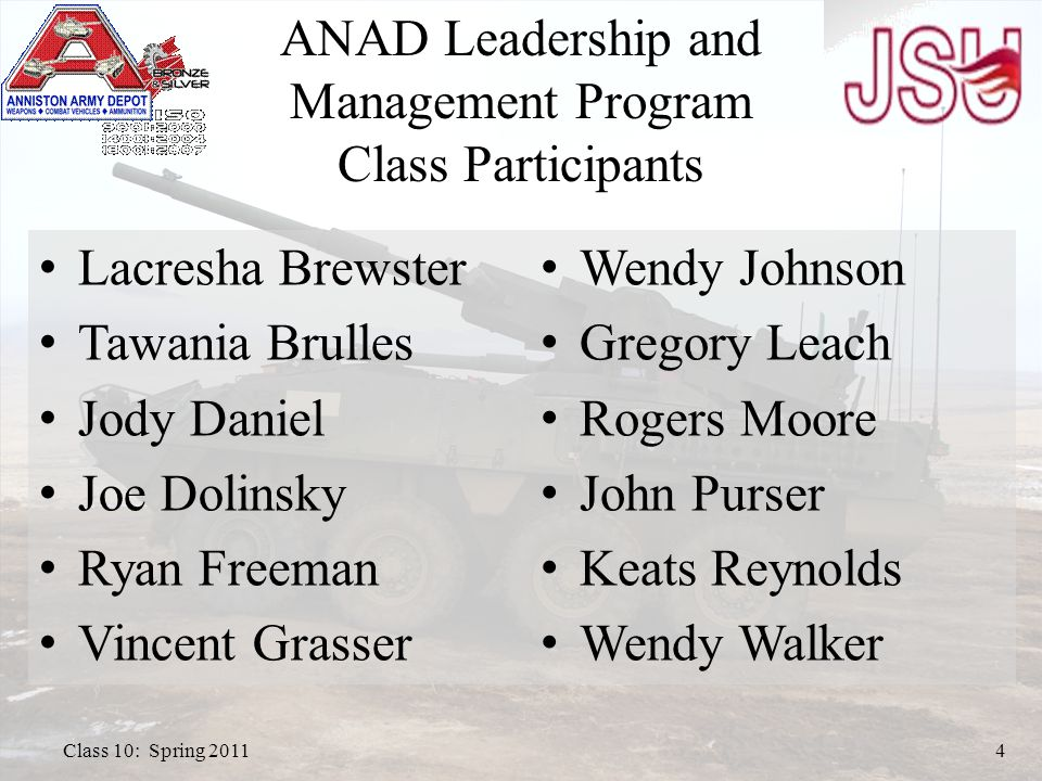 ANAD Leadership and Management Program Class Participants Wendy Johnson Gregory Leach Rogers Moore John Purser Keats Reynolds Wendy Walker Class 10: Spring 20114 Lacresha Brewster Tawania Brulles Jody Daniel Joe Dolinsky Ryan Freeman Vincent Grasser