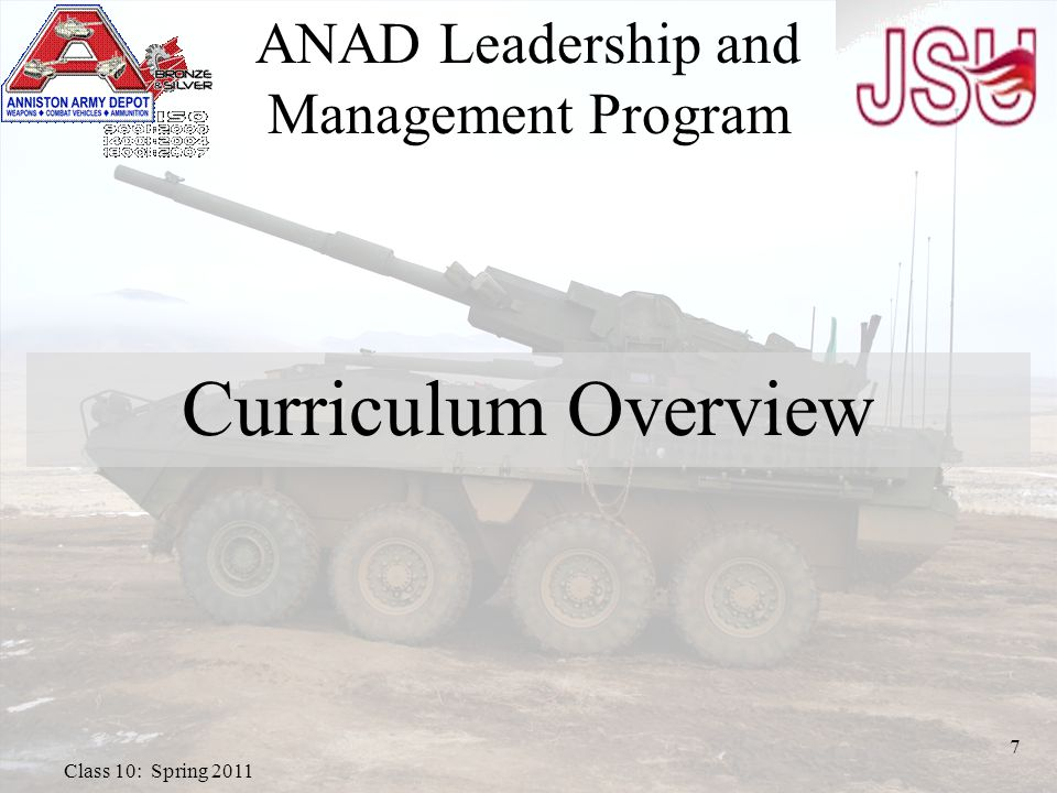 ANAD Leadership and Management Program Curriculum Overview 7 Class 10: Spring 2011