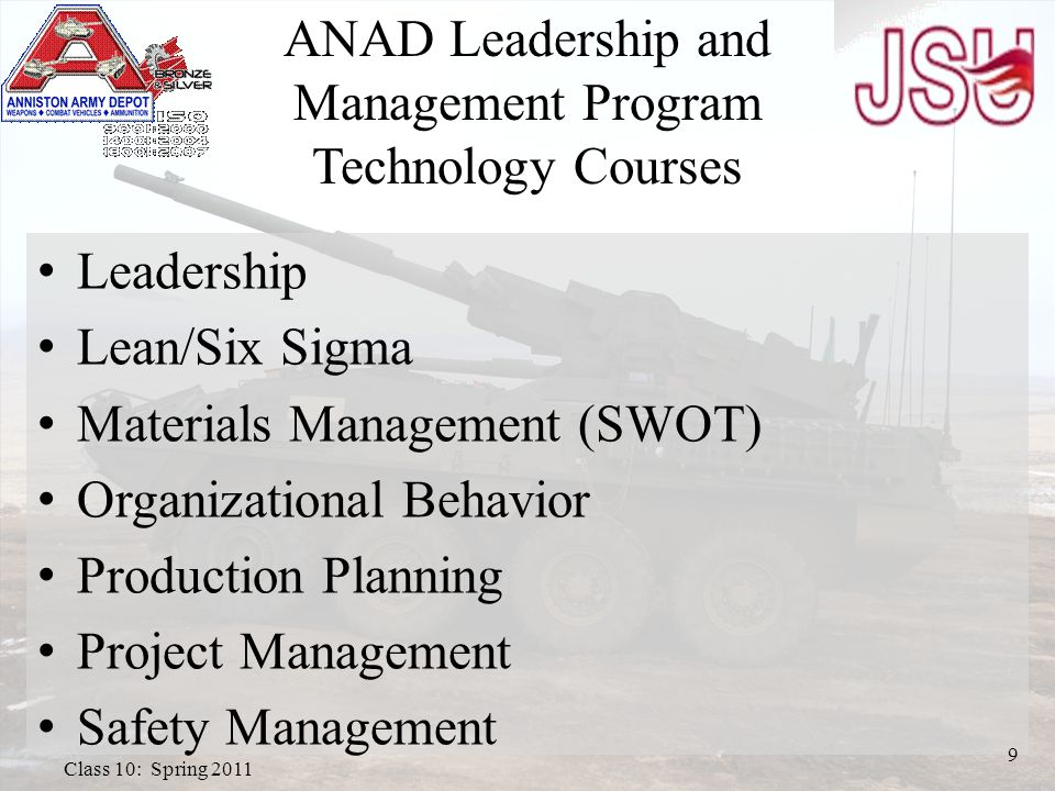 ANAD Leadership and Management Program Technology Courses Leadership Lean/Six Sigma Materials Management (SWOT) Organizational Behavior Production Planning Project Management Safety Management 9 Class 10: Spring 2011