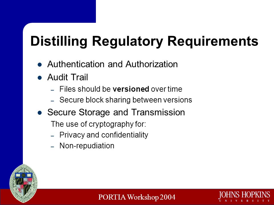 PORTIA Workshop 2004 Distilling Regulatory Requirements Authentication and Authorization Audit Trail – Files should be versioned over time – Secure block sharing between versions Secure Storage and Transmission The use of cryptography for: – Privacy and confidentiality – Non-repudiation