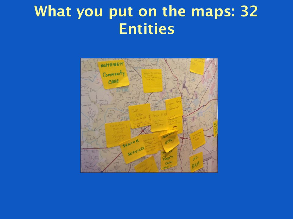 What you put on the maps: 32 Entities