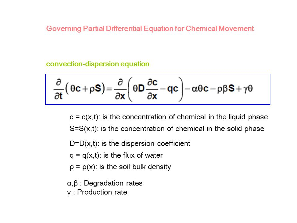 Governing Partial Differential Equation for Chemical Movement c = c(x,t): is the concentration of chemical in the liquid phase S=S(x,t): is the concen