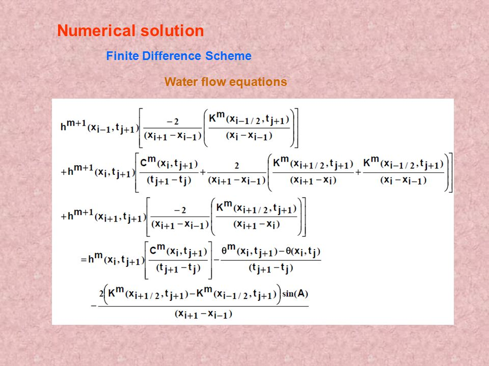 Water flow equations Numerical solution Finite Difference Scheme