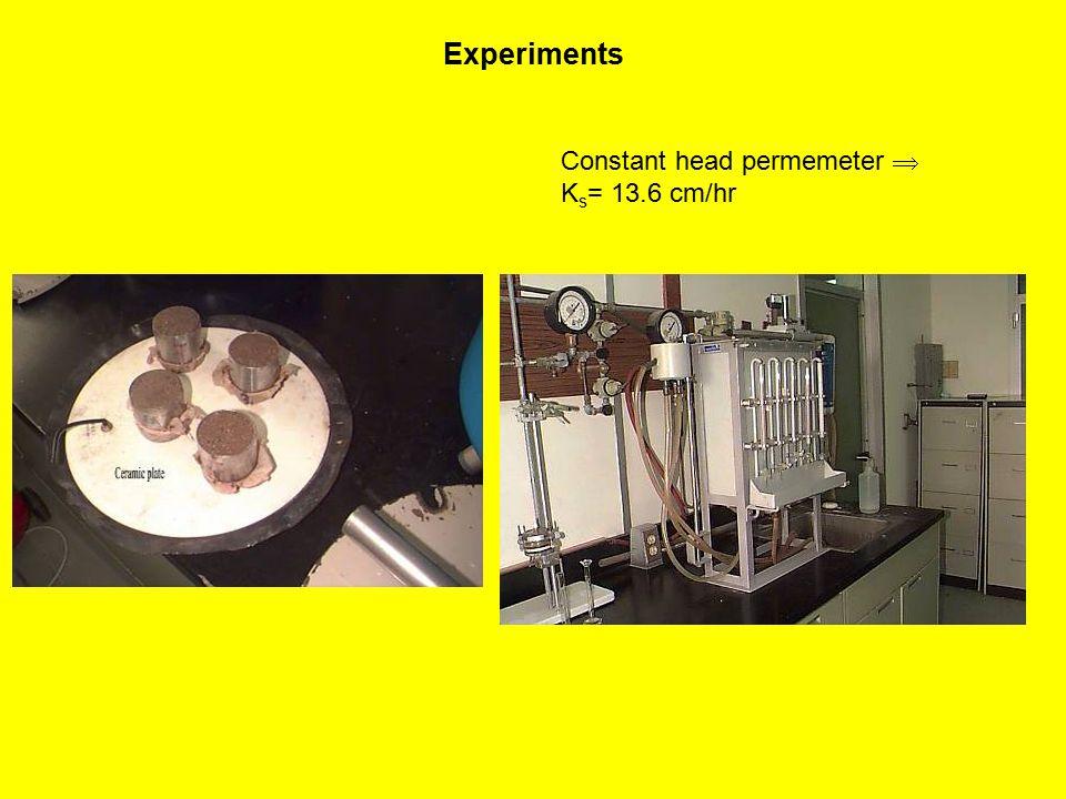 Experiments Constant head permemeter  K s = 13.6 cm/hr