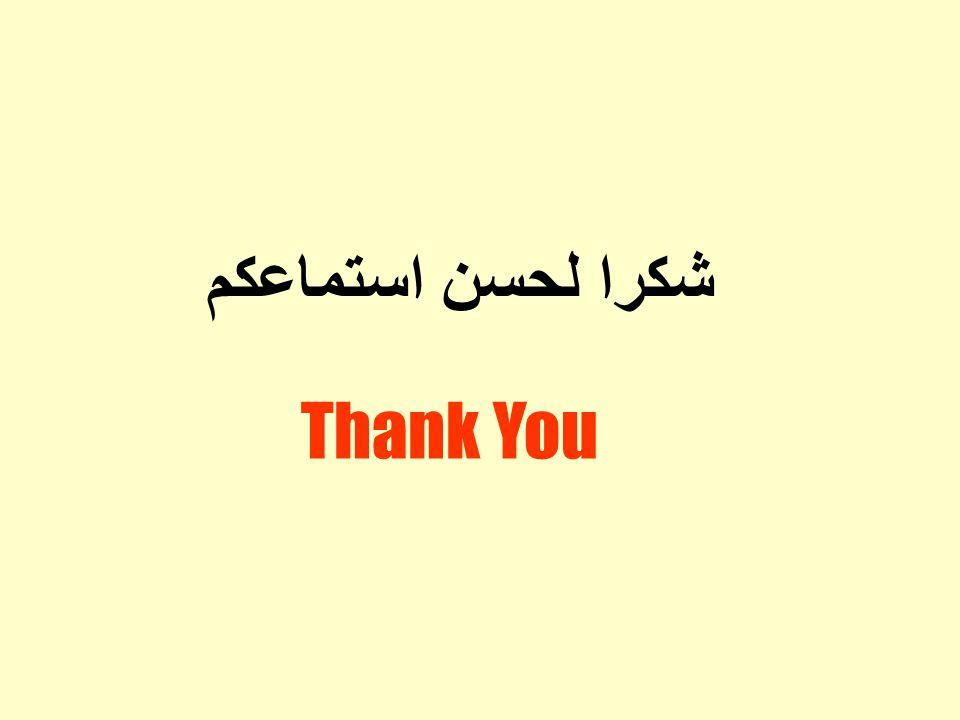 شكرا لحسن استماعكم Thank You
