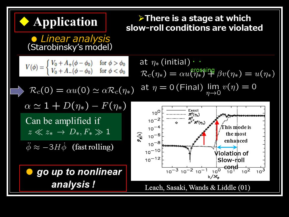 Leach, Sasaki, Wands & Liddle (01) ◆ Application  There is a stage at which slow-roll conditions are violated (fast rolling) Can be amplified if ・・ crossing Violation of Slow-roll cond This mode is the most enhanced ● Linear analysis ( Starobinsky's model ) ● go up to nonlinear analysis !