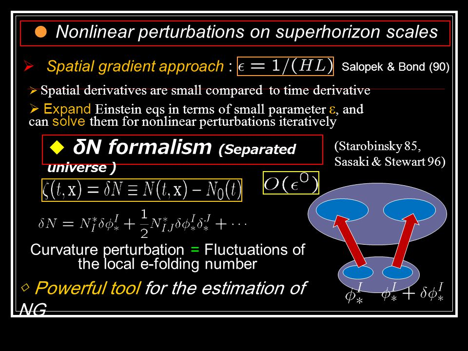  Adiabatic (Single field) curvature perturbations on superhorizon are Constant  Independent of Gravitational theory ( Lyth, Malik & Sasaki 05 )  Ignore the decaying mode of curvature perturbation  is known to play a crucial role in this case  This order correction leads to a time dependence on superhorizon  Decaying modes cannot be neglected in this case  Enhancement of curvature perturbation in the linear theory [Seto et al (01), Leach et al (01) ]  e.g.