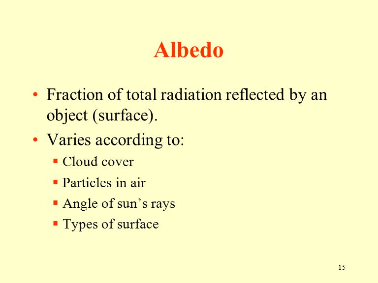 15 Albedo Fraction of total radiation reflected by an object (surface).