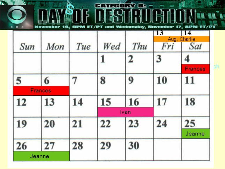 27 Steve Leach Frances 13 14 Aug. Charlie Frances Ivan Jeanne Florida's Furiously Full Calendar! S