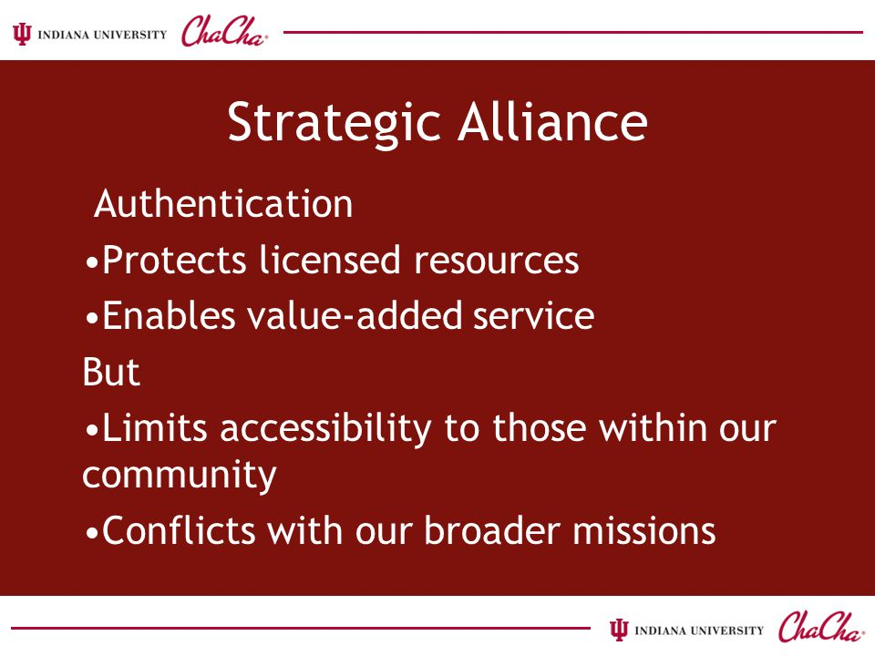 Strategic Alliance Authentication Protects licensed resources Enables value-added service But Limits accessibility to those within our community Conflicts with our broader missions