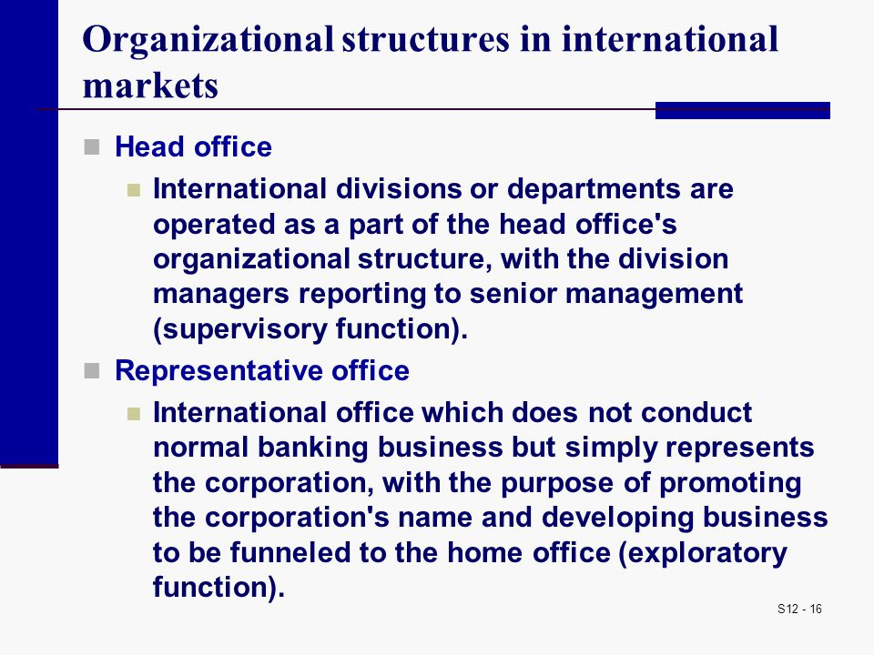 S12 - 16 Organizational structures in international markets Head office International divisions or departments are operated as a part of the head offi
