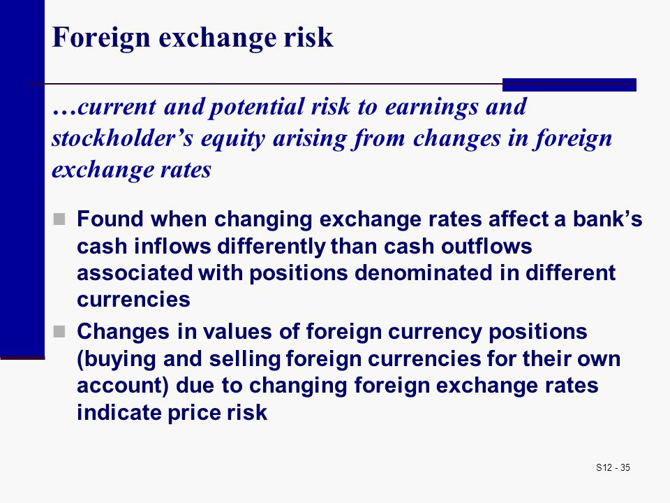 S12 - 35 Foreign exchange risk …current and potential risk to earnings and stockholder's equity arising from changes in foreign exchange rates Found w