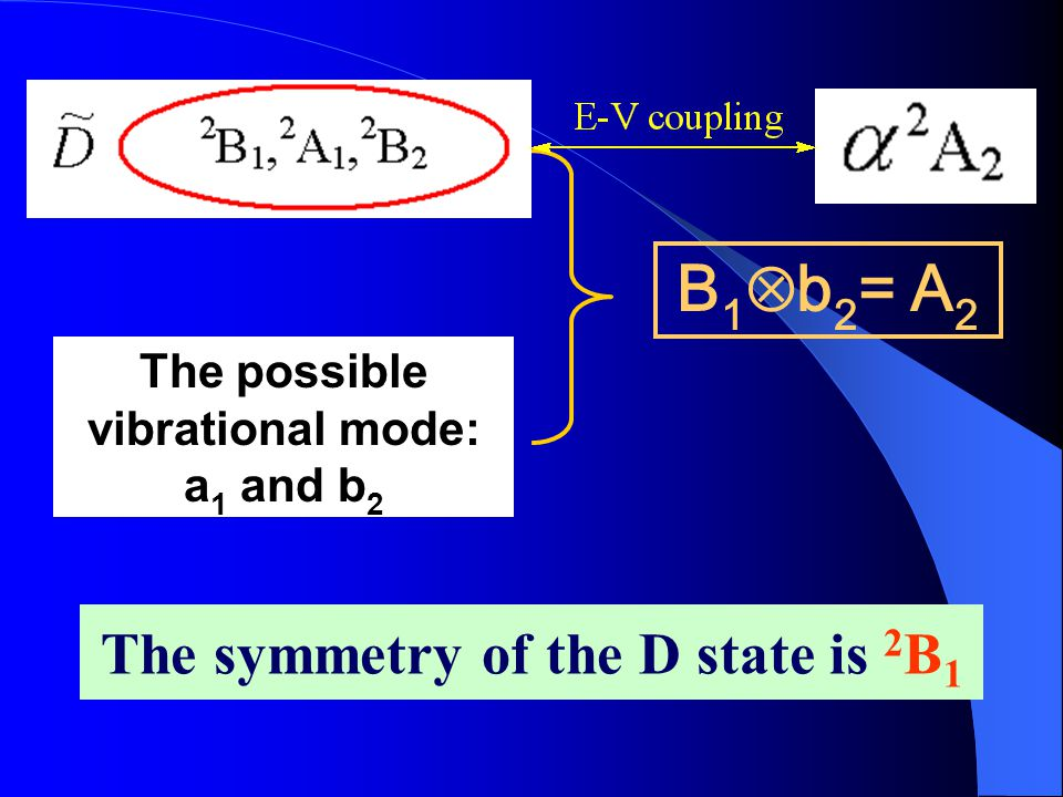 The possible vibrational mode: a 1 and b 2 B 1  b 2 = A 2 The symmetry of the D state is 2 B 1