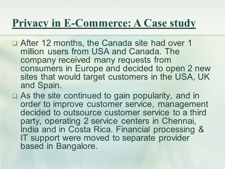  After 12 months, the Canada site had over 1 million users from USA and Canada.