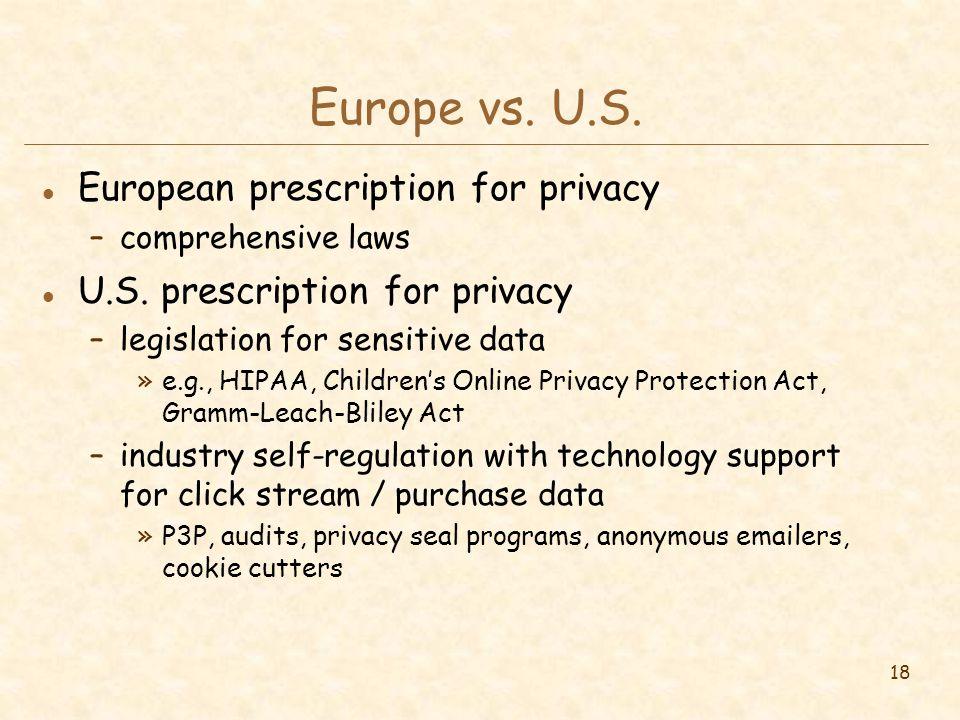 18 Europe vs. U.S. l European prescription for privacy –comprehensive laws l U.S.