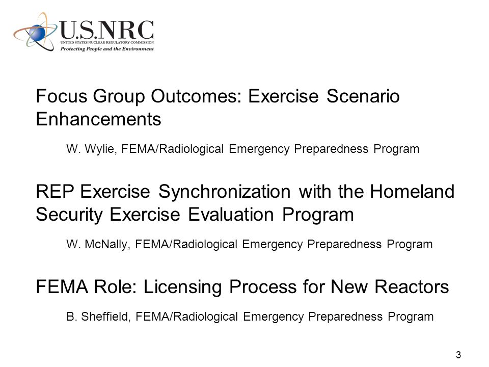 3 Focus Group Outcomes: Exercise Scenario Enhancements W.