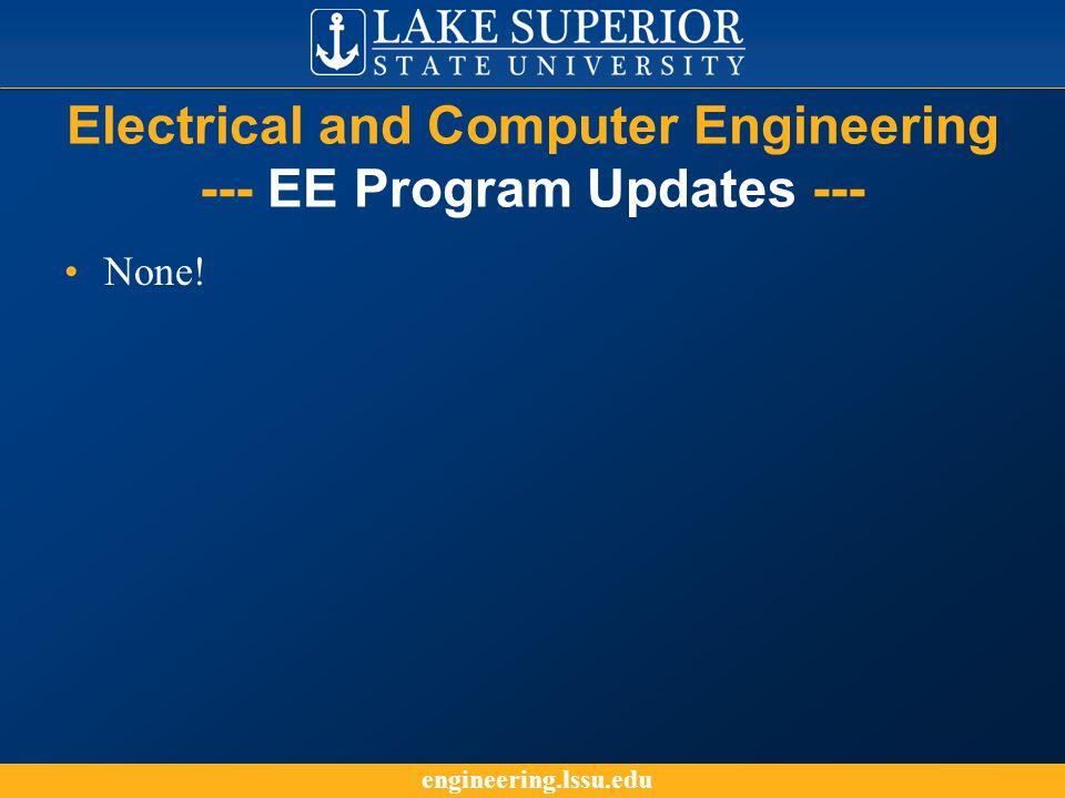 engineering.lssu.edu Electrical and Computer Engineering --- EE Program Updates --- None!