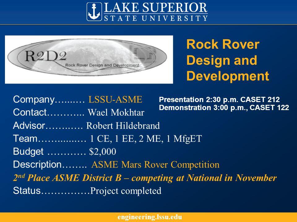 engineering.lssu.edu Company…....… LSSU-ASME Contact………...