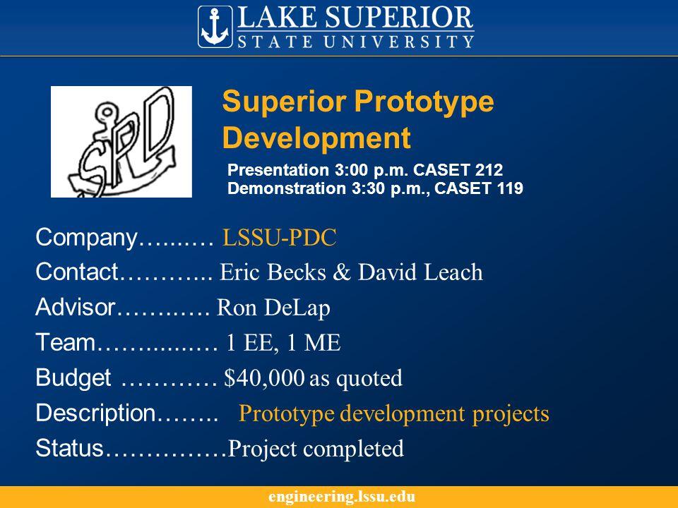engineering.lssu.edu Company…....… LSSU-PDC Contact………...