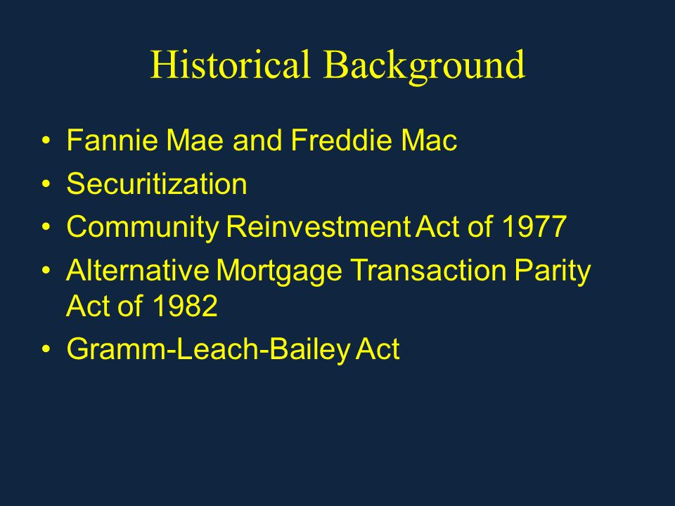 Historical Background Fannie Mae and Freddie Mac Securitization Community Reinvestment Act of 1977 Alternative Mortgage Transaction Parity Act of 1982