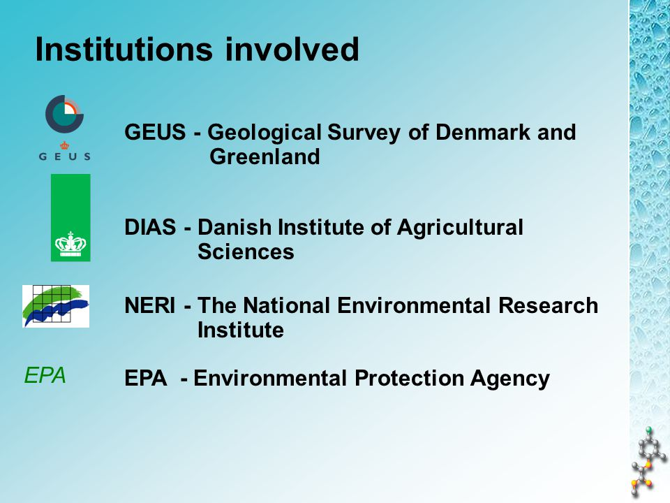 98% of drinking water supplies in DK derives from ground water Pesticides and their degradation products have been detected in about 30% of all screens monitored and 10% are > 0.1 µg/l Increasing concern about pesticide contamination of the Danish groundwater: Is the existing approval procedure for pesticides sufficient.