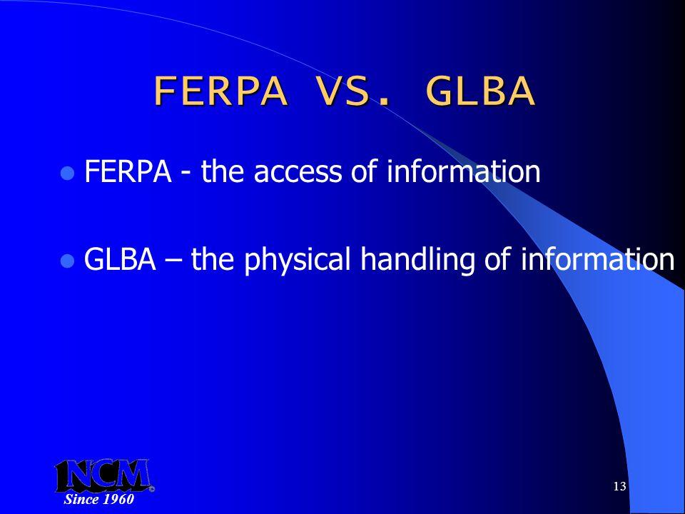 Since 1960 13 FERPA VS.