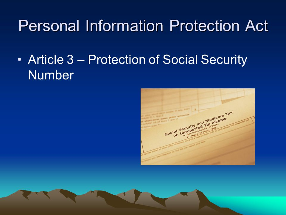 Personal Information Protection Act Article 3 – Protection of Social Security Number