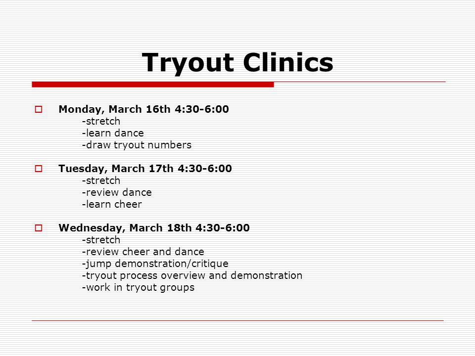 Tryout Information  Candidates who meet the qualifications shall not be discriminated against because of race, gender, national origin, or educational handicap.