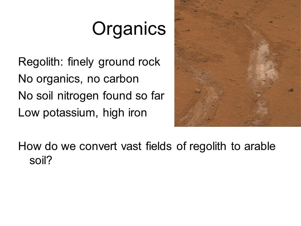 Organics Regolith: finely ground rock No organics, no carbon No soil nitrogen found so far Low potassium, high iron How do we convert vast fields of regolith to arable soil?