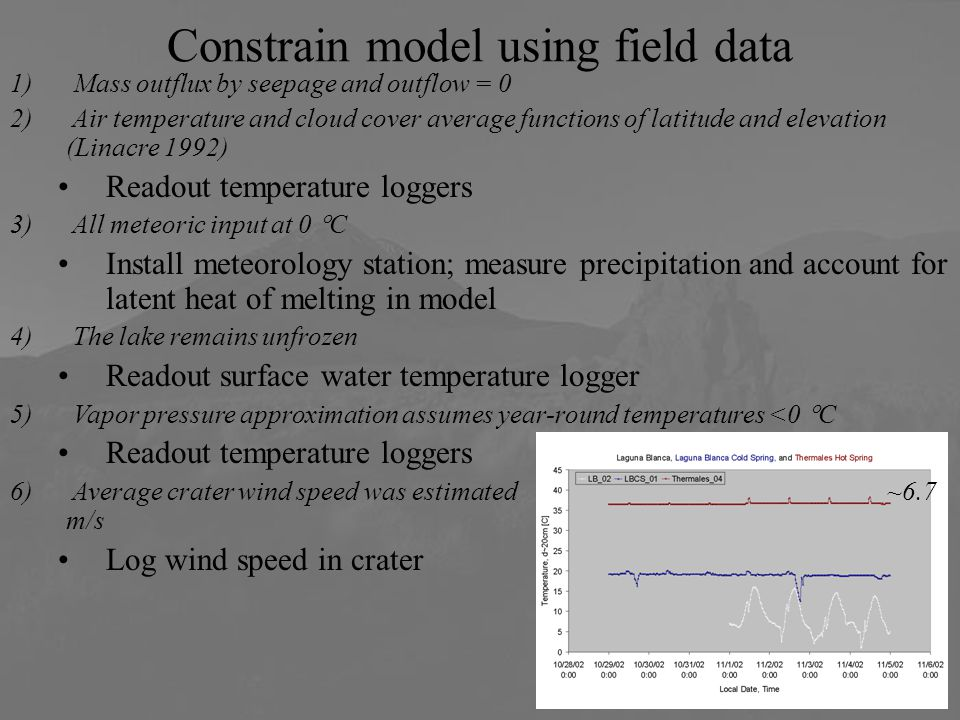 Constrain model using field data 1) Mass outflux by seepage and outflow = 0 2) Air temperature and cloud cover average functions of latitude and elevation (Linacre 1992) Readout temperature loggers 3) All meteoric input at 0  C Install meteorology station; measure precipitation and account for latent heat of melting in model 4) The lake remains unfrozen Readout surface water temperature logger 5) Vapor pressure approximation assumes year-round temperatures <0  C Readout temperature loggers 6) Average crater wind speed was estimated ~6.7 m/s Log wind speed in crater