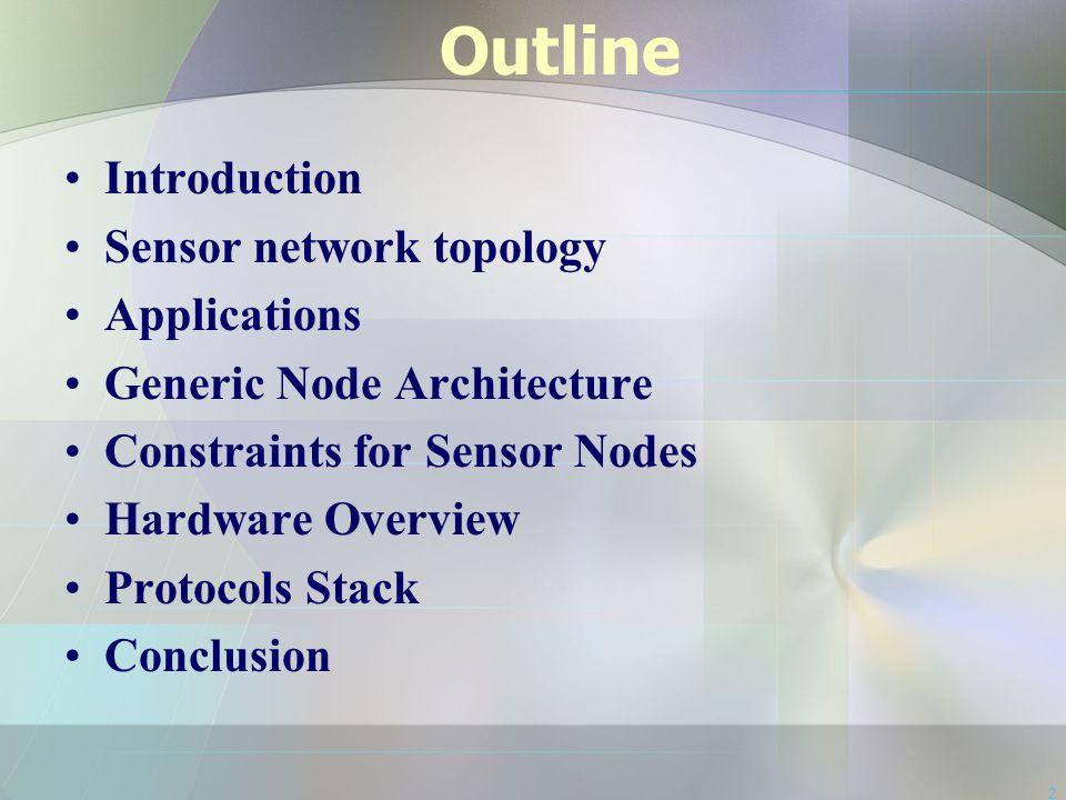 2 Outline Introduction Sensor network topology Applications Generic Node Architecture Constraints for Sensor Nodes Hardware Overview Protocols Stack C