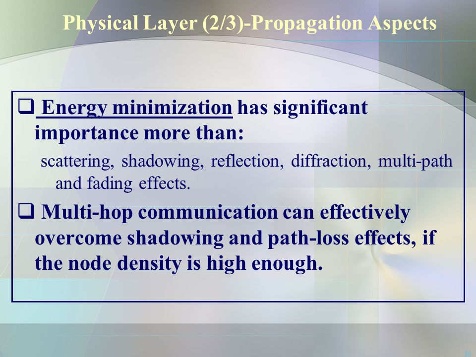 20 Physical Layer (2/3)-Propagation Aspects  Energy minimization has significant importance more than: scattering, shadowing, reflection, diffraction