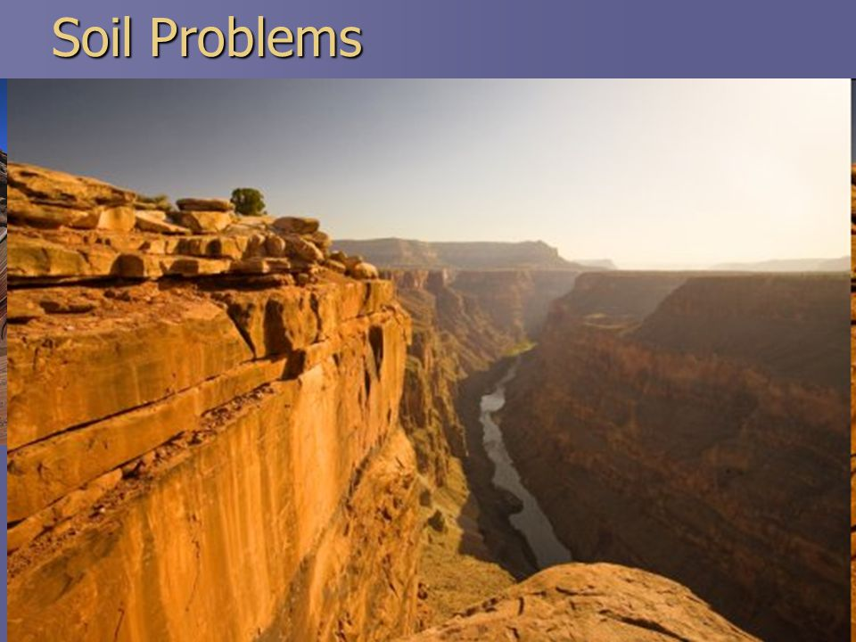 Soil Problems  1. Soil Erosion  Caused primarily by water and wind  Why a problem.