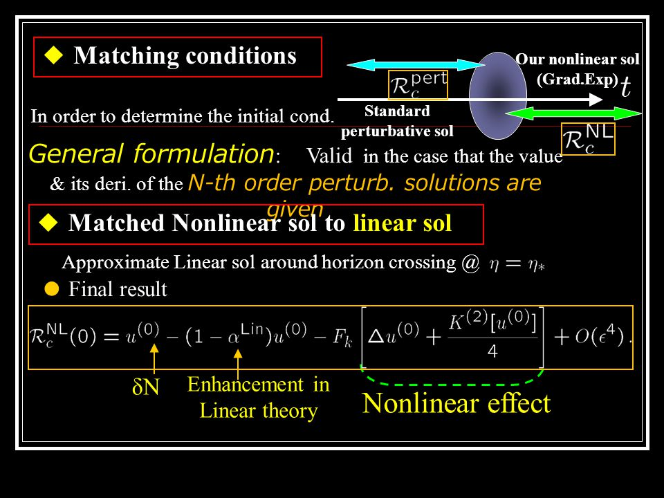 ◆ Matching conditions Standard perturbative sol Our nonlinear sol (Grad.Exp) In order to determine the initial cond.