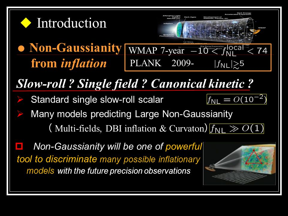 ◆ Introduction ● Non-Gaussianity from inflation Slow-roll .