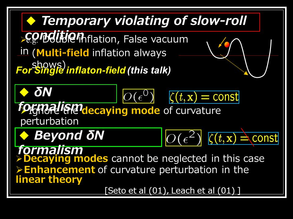 ◆ Applications of our formula Non-Gaussianity in this formula matched to DBI inflation Apply to varying sound velocity Trispectrum of the feature models Extension to nonlinear Gravitational wave Extension to the models of Multi-scalar field (with Naruko,in progress) (naturally gives temporary violating of slow-roll cond) Calculate the integrals; (Temporary violating of slow-roll condition)