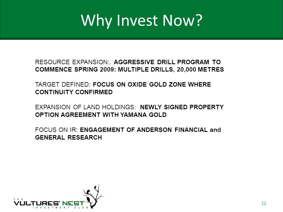 Why Invest Now. 12 RESOURCE EXPANSION:.