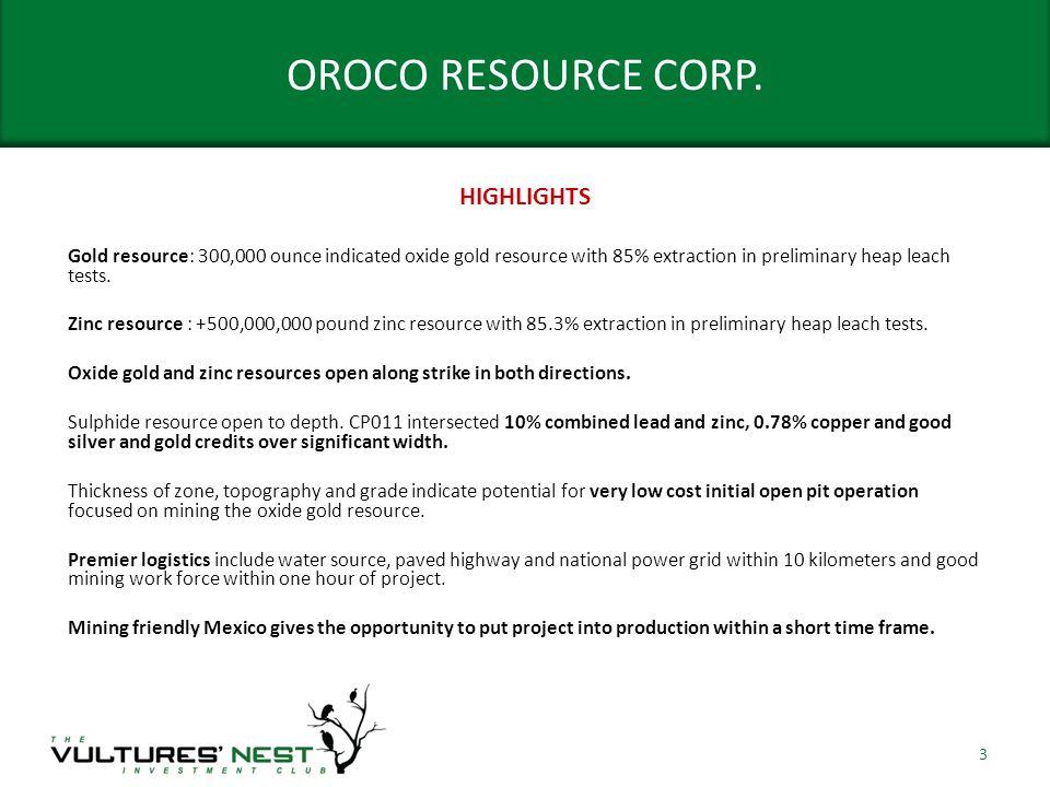 OROCO RESOURCE CORP.