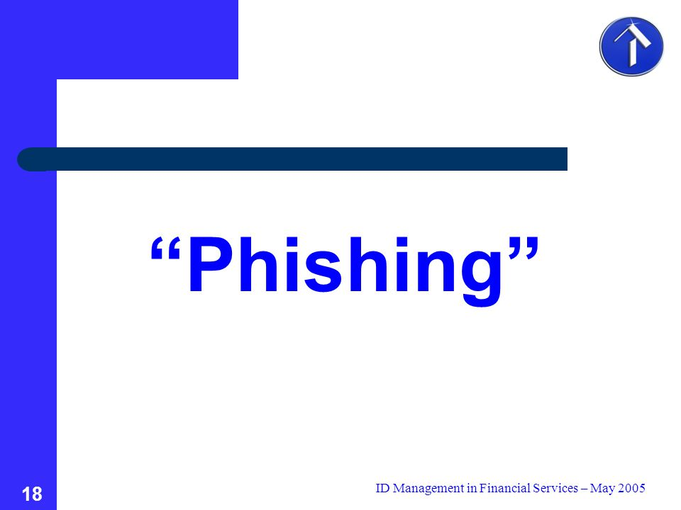 ID Management in Financial Services – May 2005 18 Phishing