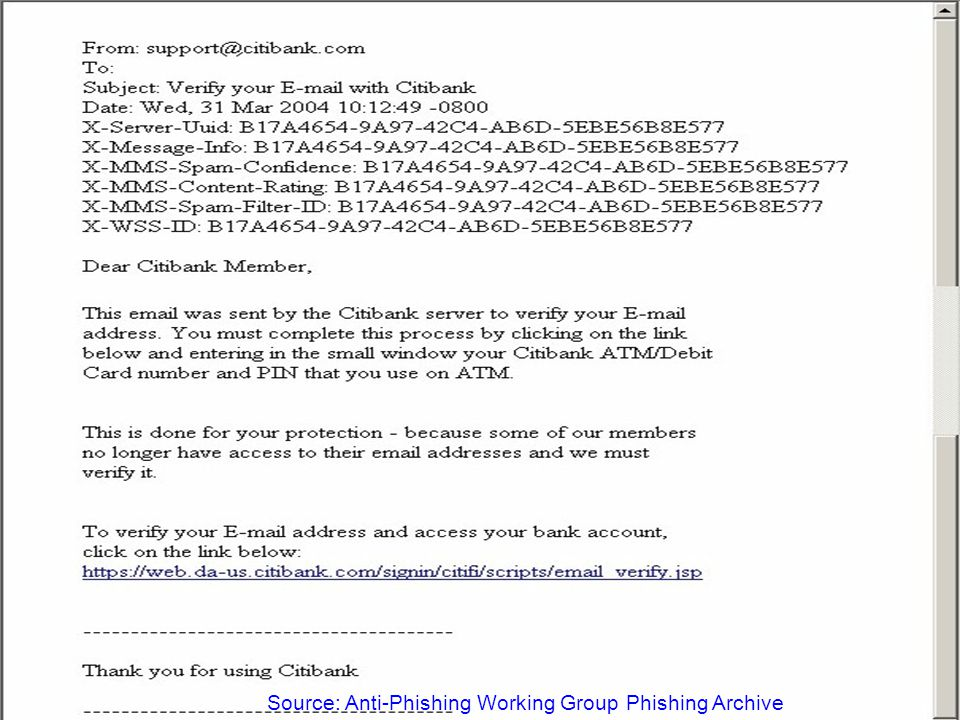 ID Management in Financial Services – May 2005 29 Examples (March 2004) Source: Anti-Phishing Working Group Phishing Archive