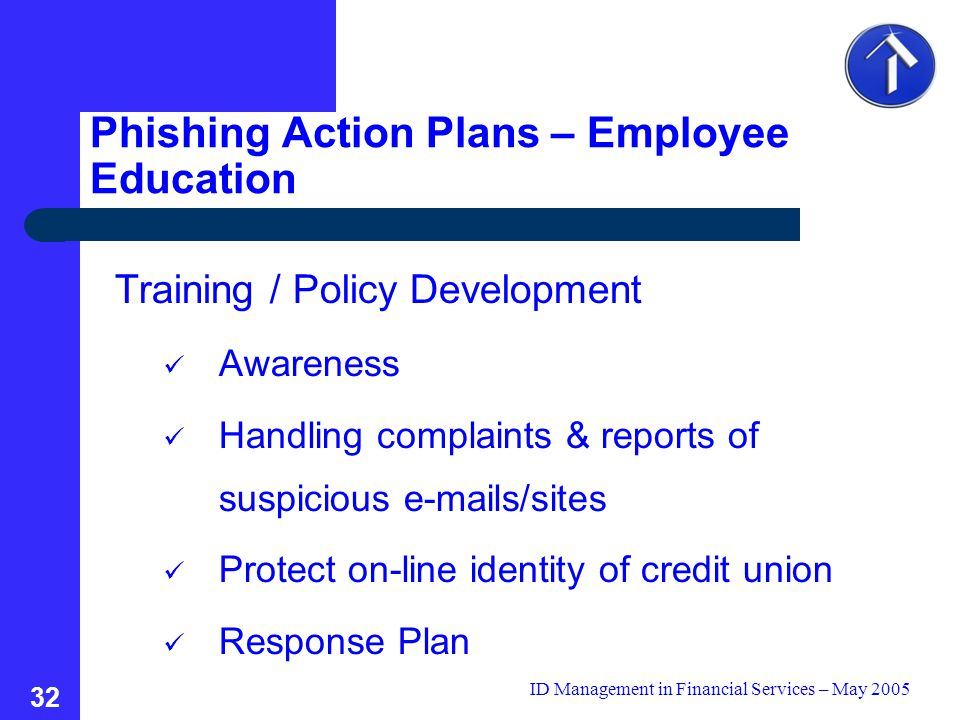 ID Management in Financial Services – May 2005 32 Training / Policy Development Awareness Handling complaints & reports of suspicious e-mails/sites Protect on-line identity of credit union Response Plan Phishing Action Plans – Employee Education