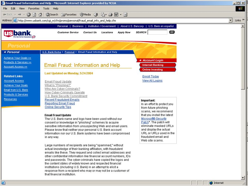 ID Management in Financial Services – May 2005 35 Action Plan Ideas - Education