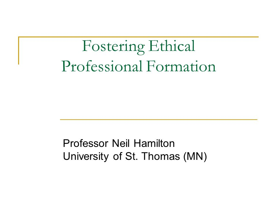 Four Ideas to Take Home 1.Ethical Professional Formation Can Occur Over a Career 2.
