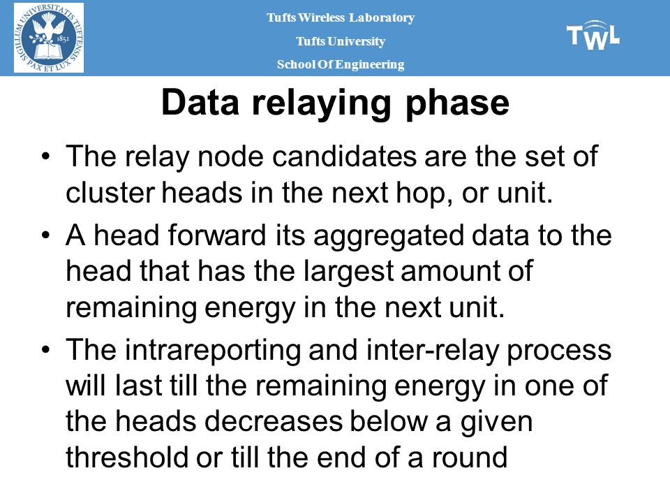 Tufts Wireless Laboratory Tufts University School Of Engineering Data relaying phase The relay node candidates are the set of cluster heads in the next hop, or unit.