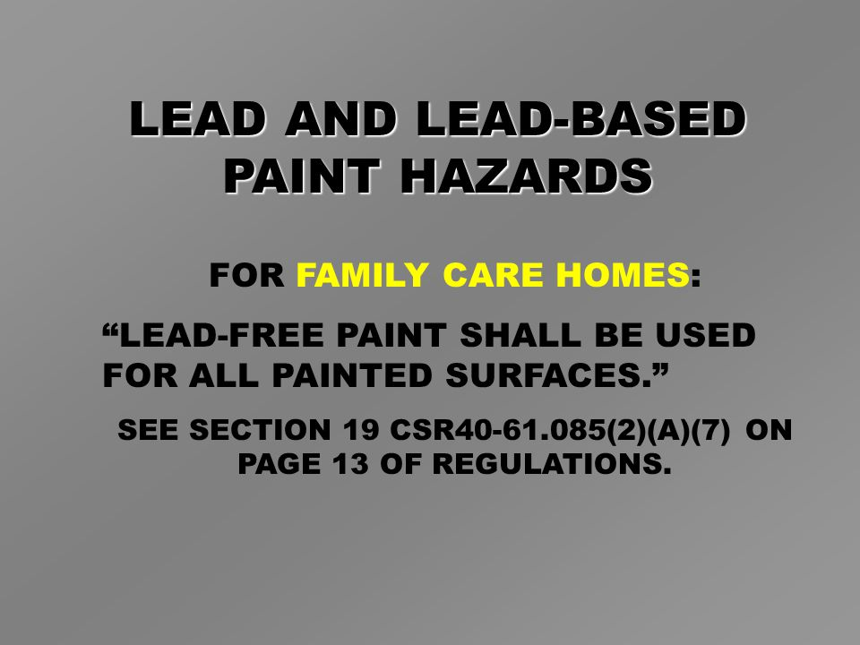 FOR FAMILY CARE HOMES: LEAD-FREE PAINT SHALL BE USED FOR ALL PAINTED SURFACES. SEE SECTION 19 CSR40-61.085(2)(A)(7) ON PAGE 13 OF REGULATIONS.