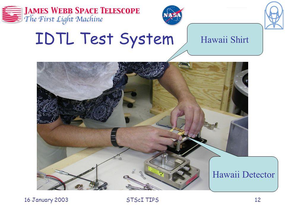 16 January 2003STScI TIPS12 IDTL Test System Hawaii Detector Hawaii Shirt