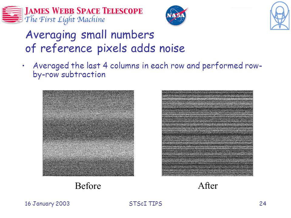 16 January 2003STScI TIPS24 Averaging small numbers of reference pixels adds noise Averaged the last 4 columns in each row and performed row- by-row subtraction Before After