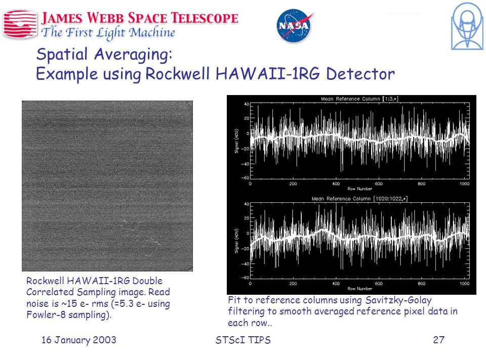 16 January 2003STScI TIPS27 Spatial Averaging: Example using Rockwell HAWAII-1RG Detector Rockwell HAWAII-1RG Double Correlated Sampling image.