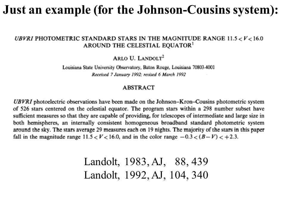 Just an example (for the Johnson-Cousins system): Landolt, 1983, AJ, 88, 439 Landolt, 1992, AJ, 104, 340